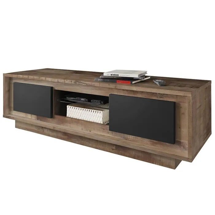 meuble tv 160 cm couleur bois et anthracite modern