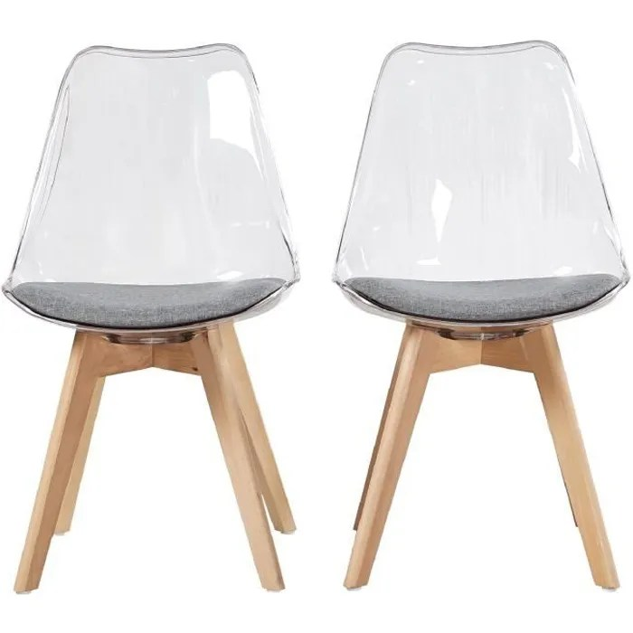 hj store lot de 2 chaise transparente scandinave pour salle a manger avec coussin en tissu et pieds de hetre