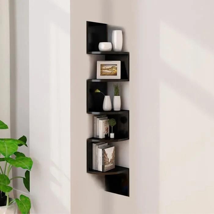 etagere d angle design contemporain zig zag 5 niveaux 20l 20l 120h cm couleur noir