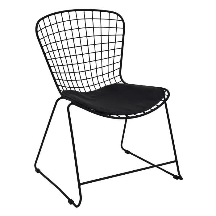 lot de 2 chaises metal noir avec galette 60x59x81