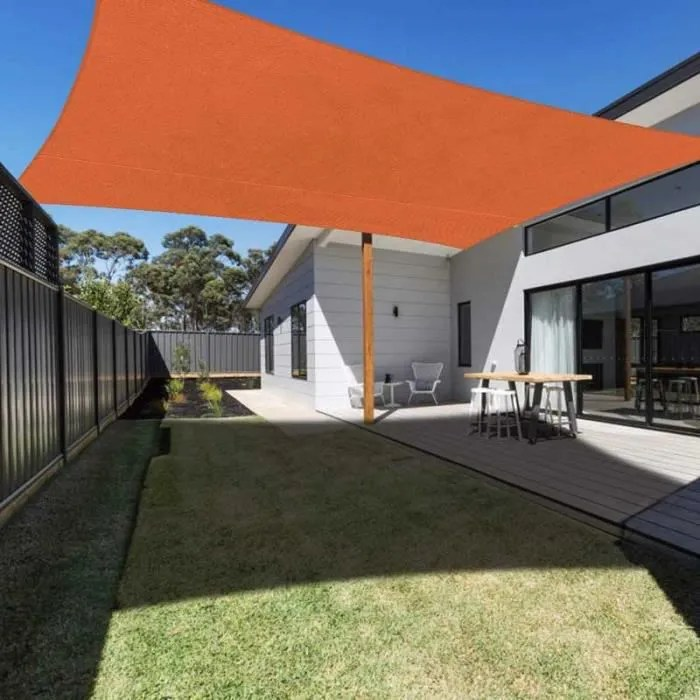 voile d ombrage rectangulaire 3x4m orange toile a