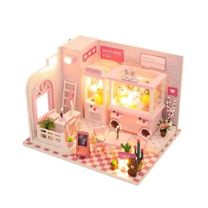 maison miniature a construire kit de maison de poupee miniature kit diy dollhouse en bois avec cache poussiere achat vente maison poupee cdiscount