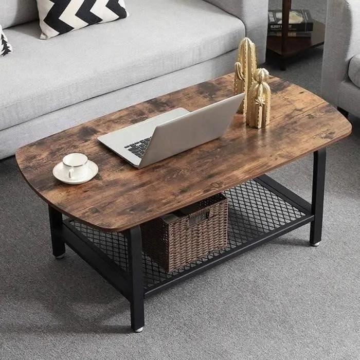 vasagle table basse vintage style industriel table d appoint salon armature metallique etagere de rangement en treillis lct10x