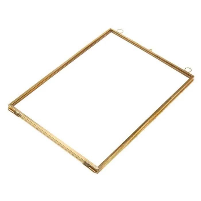 vintage cadre photo suspendu metal verre et 2 cote en verre or transparent 12 7x17 8cm