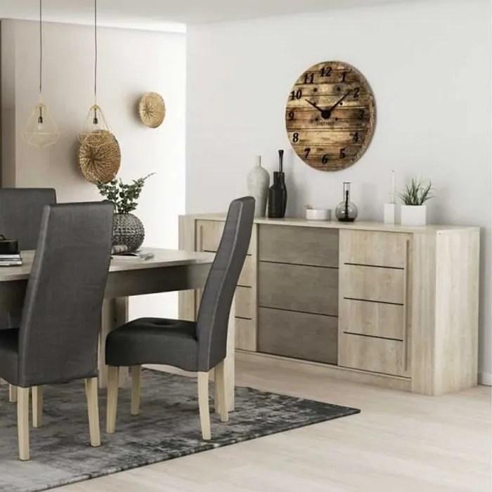buffet 3 tiroirs 2 portes coulissantes lyon bois clair bois l 206 x l 45 x h 94 cm buffet