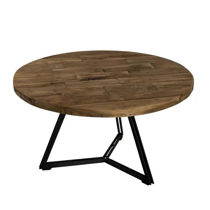 table basse ronde style industriel en bois teck pieds en metal noir o 75 cm