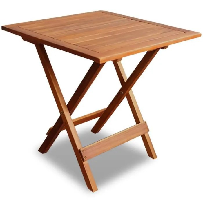 table basse etanche pliable en bois dur d acacia table d appoint de salon jardin terrasse 46 x 46 x 47 cm