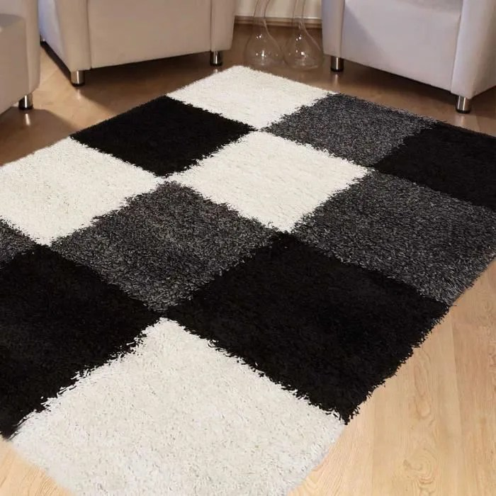 tapis norlaz noir tapis longues meches 160 x 230 c