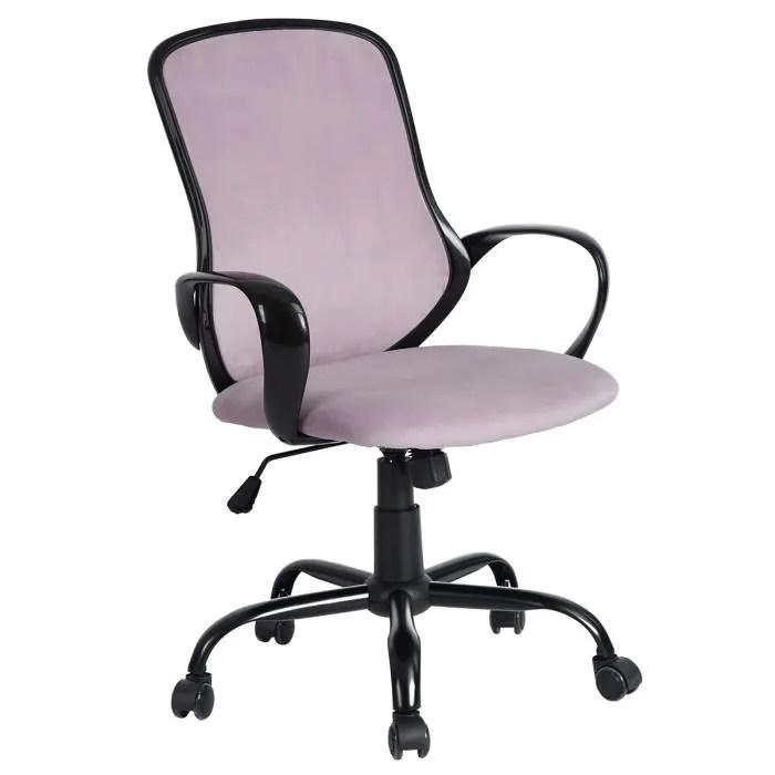 fauteuil de bureau rose chaise de bureau rose et noir avec accoudoirs hauteur ajustable et base pivotante avec roulettes