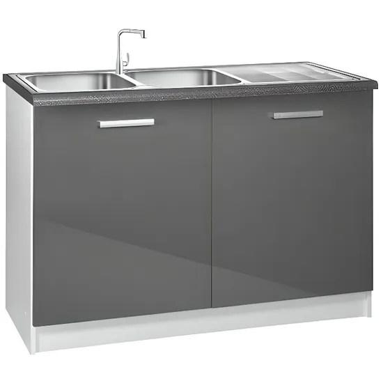 meuble cuisine bas 120 cm sous evier tara