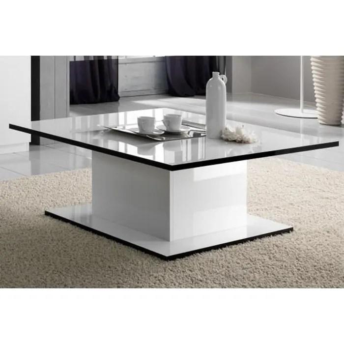 table basse rectangulaire laquee blanc zeme noir et blanc bois l 110 x l 60 x h 43 cm table basse