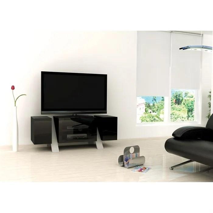 artun meuble tv design laque noir 120cm