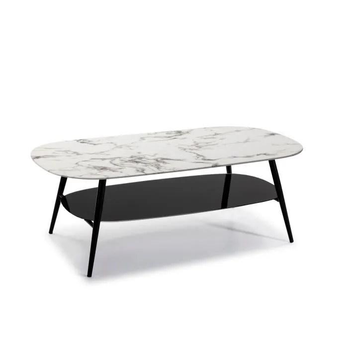 salina table de salon ovale verre marbre blanc et noir l 120 x p 60 x h 45 cm