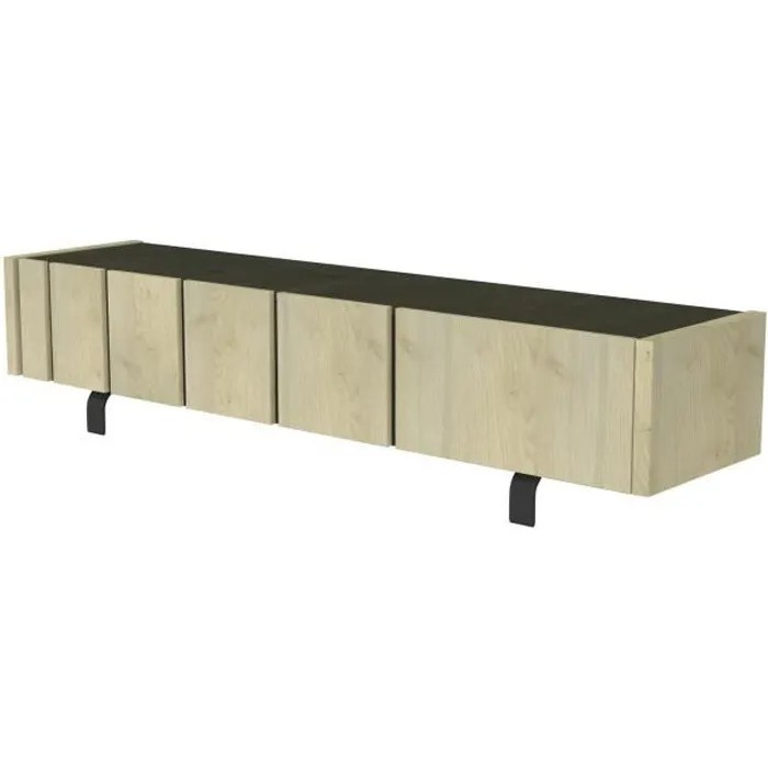 rush meuble tv industriel decor noir ardoise d