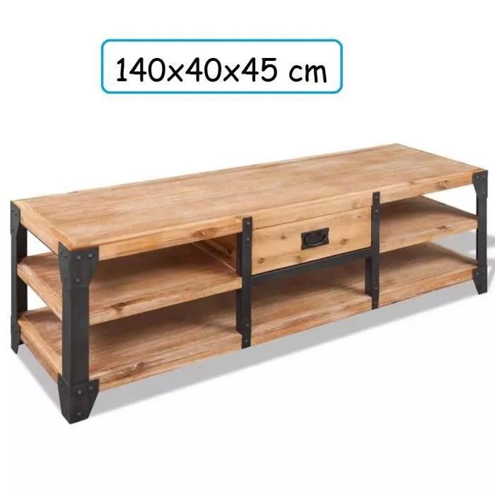 meuble tv large en bois d acacia massif avec renforcement en acier naturel salon television home cinema