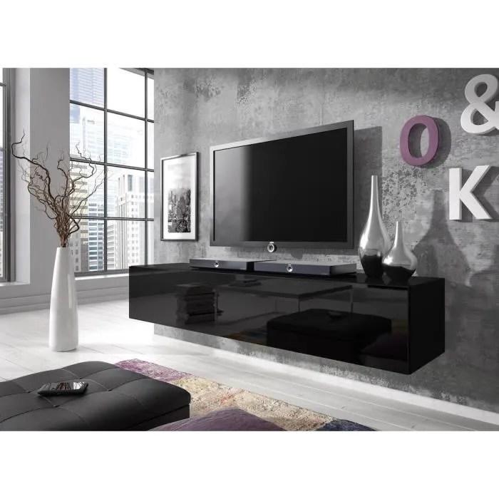 meuble tv flottant rocco 160 cm corps mat noir