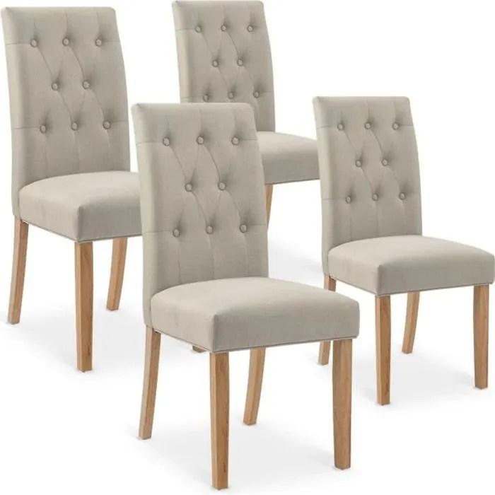 lot de 4 chaises gaya capitonnees en tissu beige