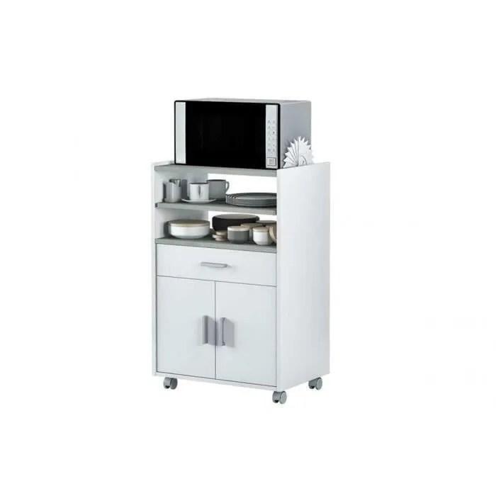 armoire micro ondes 1 tiroir et 2 portes coloris blanc artik et beton 92 x 59 x 40 cm
