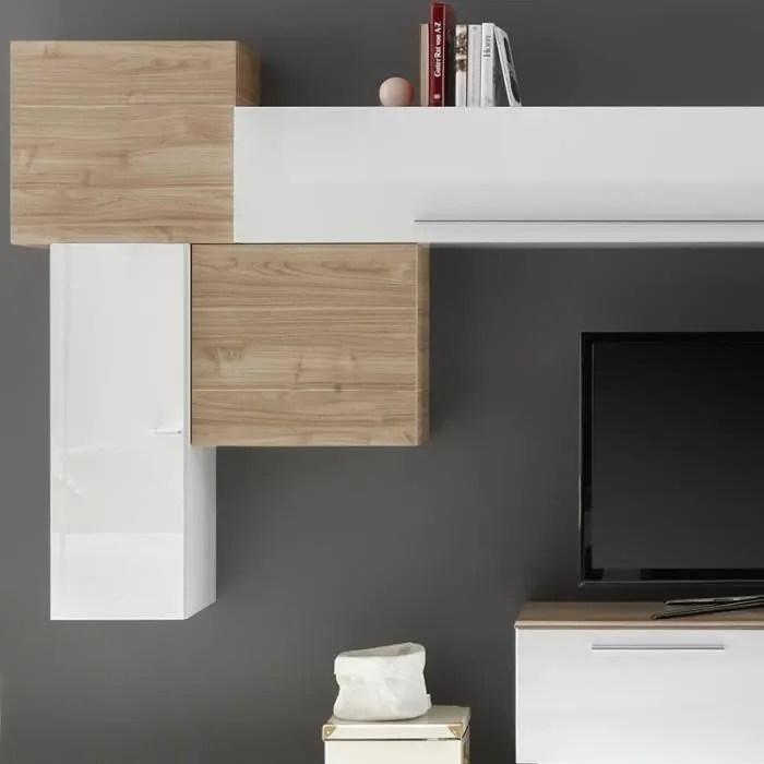 mur tv moderne blanc et couleur bois clair novara