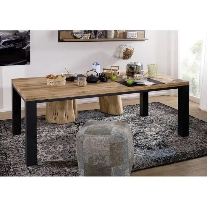 table a manger 160x90cm metal et bois massif de chene sauvage huile bois naturel villanders 117
