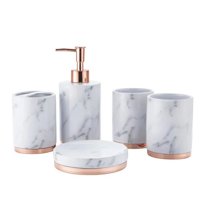 accessoires salle de bain set 5 pcs marbre ceram