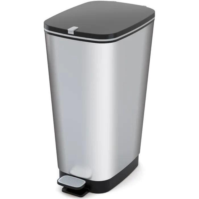 kis poubelle de cuisine a pedale 42 5l chic aspect inox
