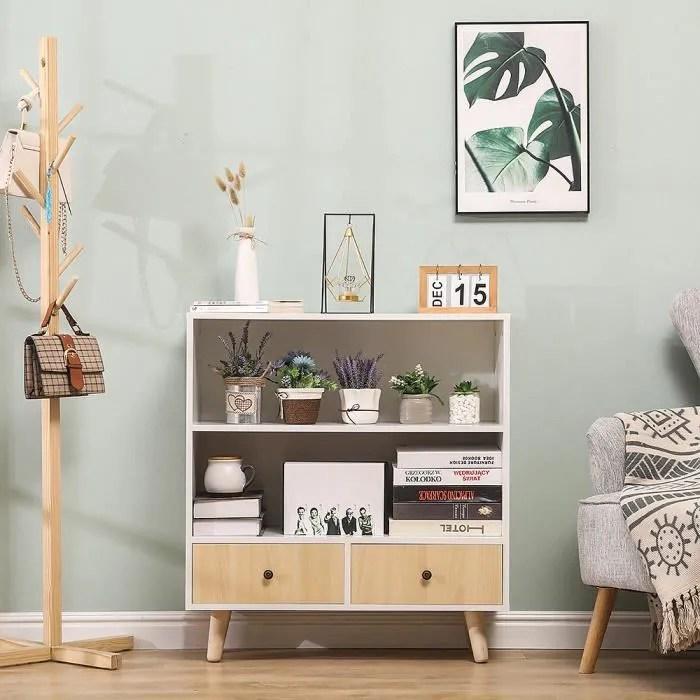 bibliotheque scandinave meuble de rangement en boi