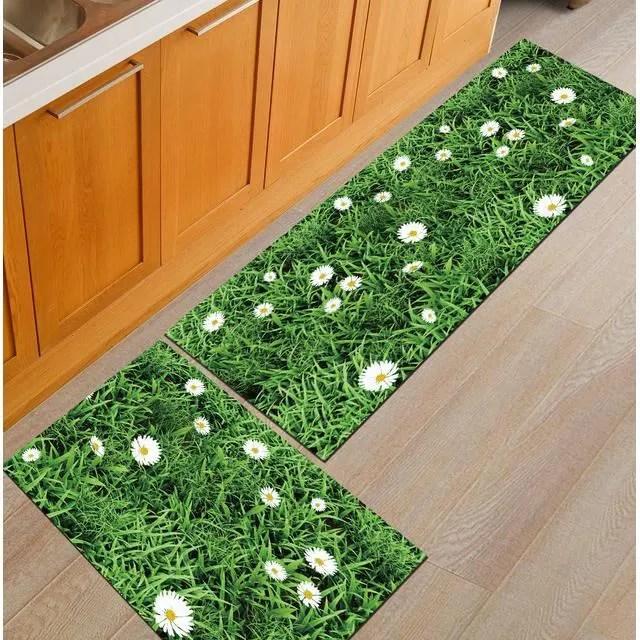 2 pieces tapis cuisine devant evier antiderapant tapis de sol absorbant lavable decoration 40 60 40 120cm vert