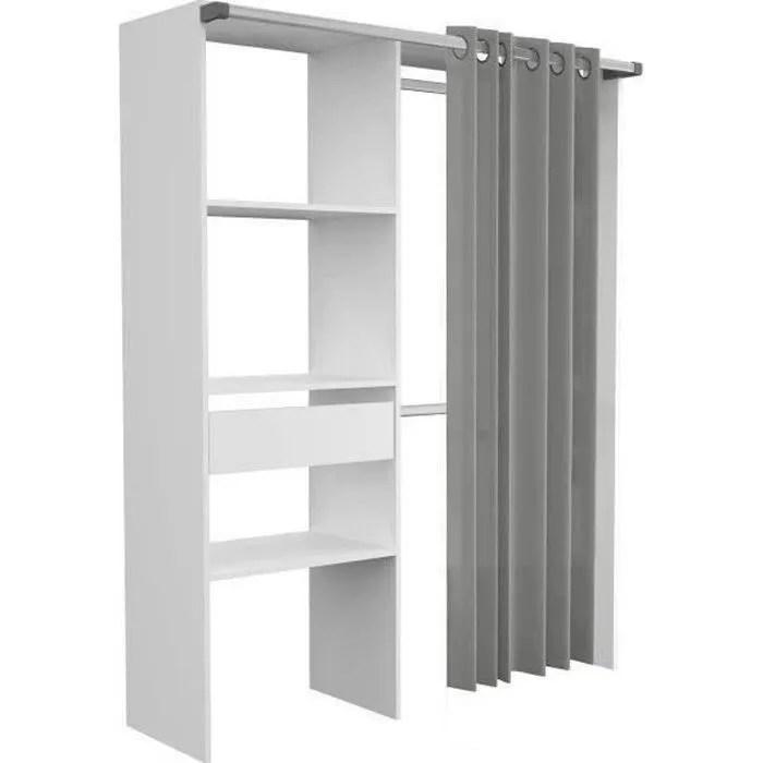 amenagement de placard avec rideau decor blanc