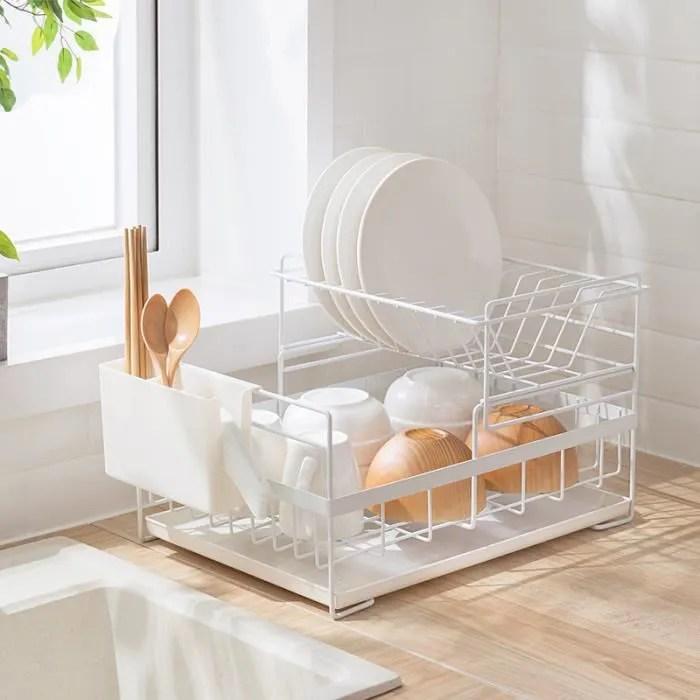 melliflous egouttoir a vaisselle avec plateau d egouttage blanc