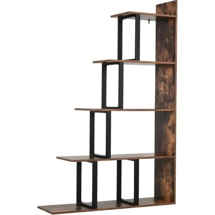 etagere bibliotheque separateur de piece style industriel en escalier 5 etageres dim 102l x 30l x 160h cm acier noir panneaux