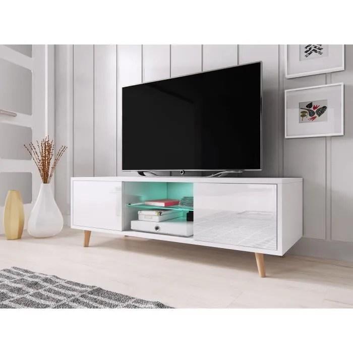 vivaldi meuble tv sweden 140 cm blanc mat