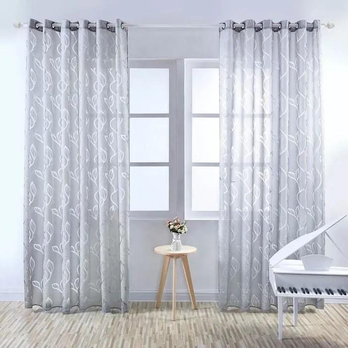 paire de rideau voilages feuillet gris 100 x 2
