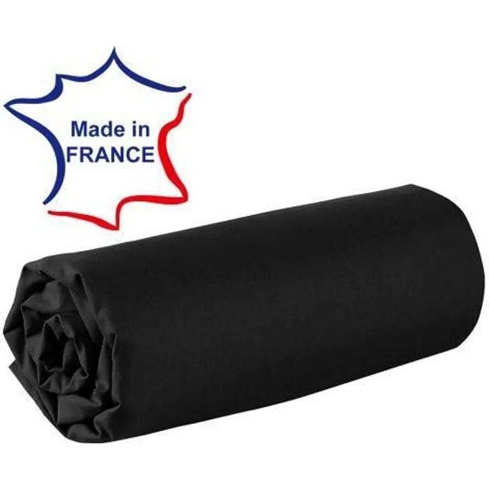 Drap Housse 120 X 190 Cm 100 Coton 57 Fils Made In France Noir Cdiscount Maison