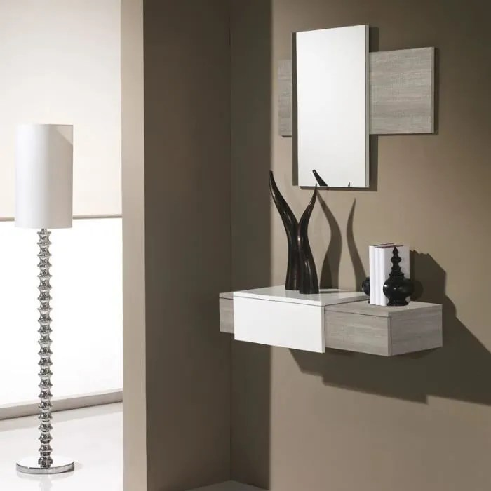 meuble d entree chene clair miroir imbro l 90 x l 29 x h 18