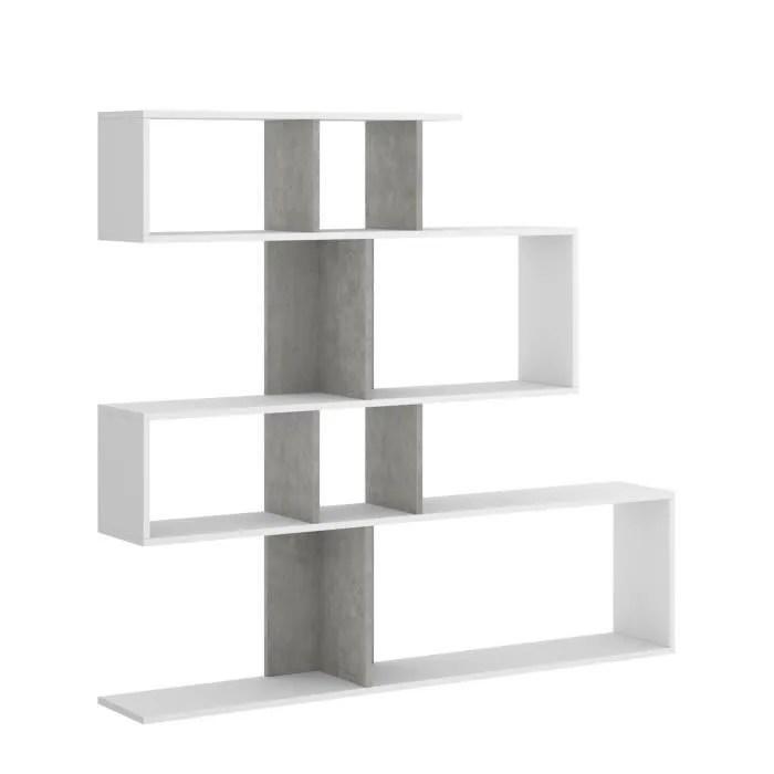 meuble etagere decor blanc et beton l 139 x p 25 x h 130 cm lau