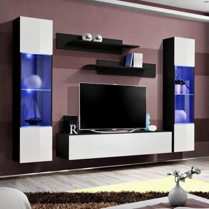 meuble tele mural blanc et noir larissa blanc l 26