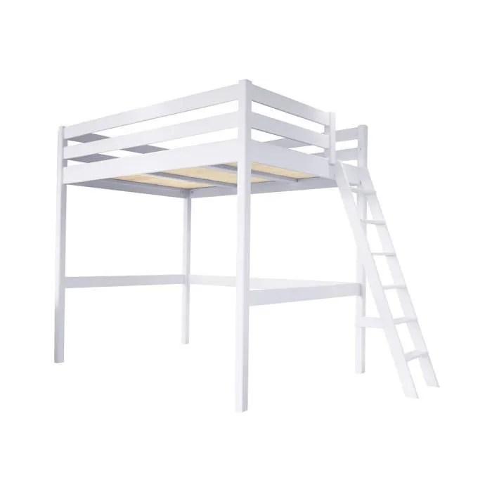 lit mezzanine sylvia avec echelle bois couleur blanc dimensions 120x200
