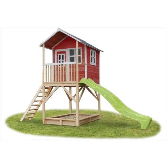 cabane en bois avec toboggan loft 700 rouge