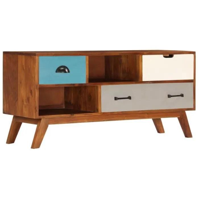 meuble tv meuble salon scandinave contemporain avec 3 tiroirs 110x35x50 cm bois d acacia solide