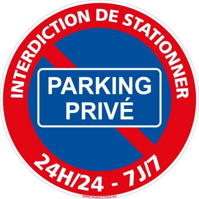 Panneau Parking Privee Stationnement Interdit 24h 24 Et 7j 7 Diametre 250 Mm Aluminium 2 Mm Protection Anti Uv Cdiscount Bricolage