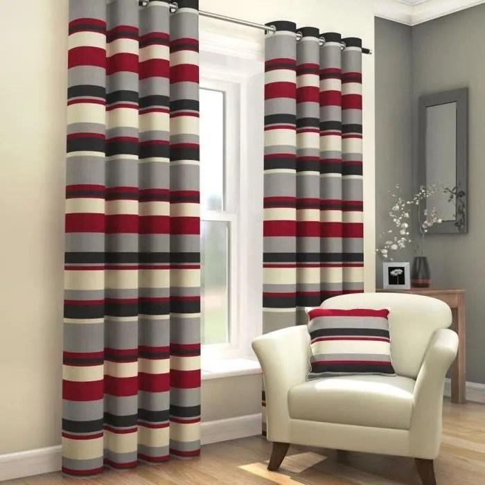 double rideau gris et rouge