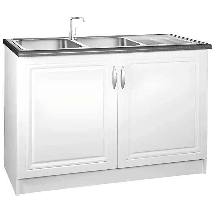 meuble cuisine bas 120 cm sous evier dina blanc