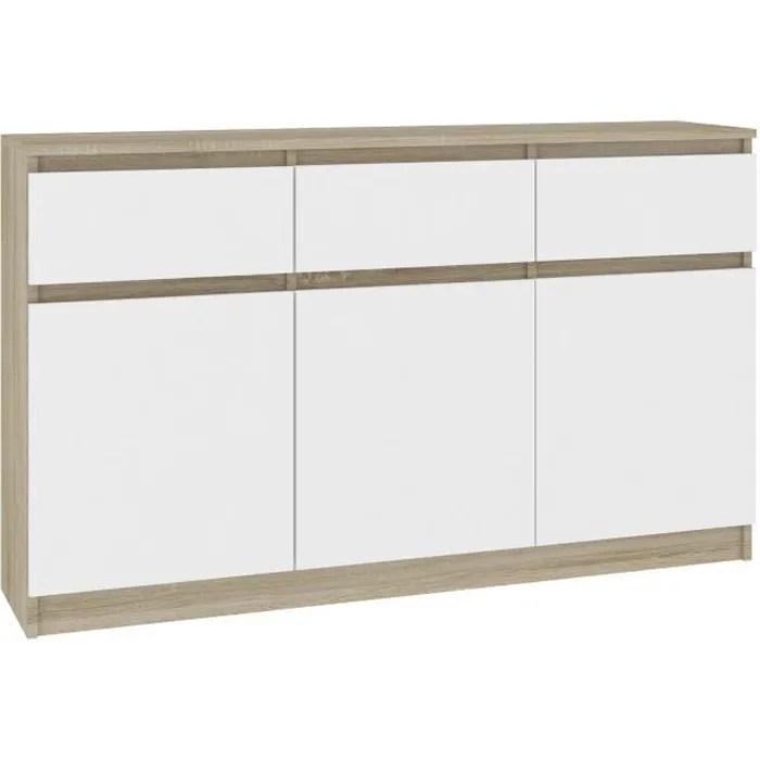 grace buffet enfilade moderne salon sejour 3 tiroirs 3 portes 138x99x40cm commode contemporaine meuble de rangement