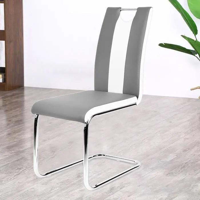lot de 6 chaises de salle a manger simili gris et blanc dossier incurve style minimaliste moderne