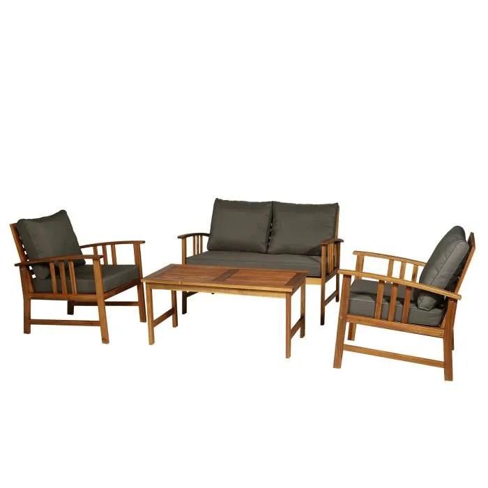 salon de jardin 4 pers 4 pieces style colonial coussins grand confort inclus polyester gris fonce bois acacia
