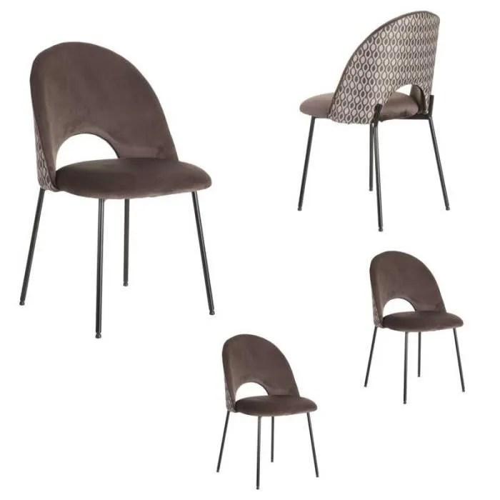 quatuor de chaises metal tissu taupe a motifs monoub l 51 x l 51 x h 84