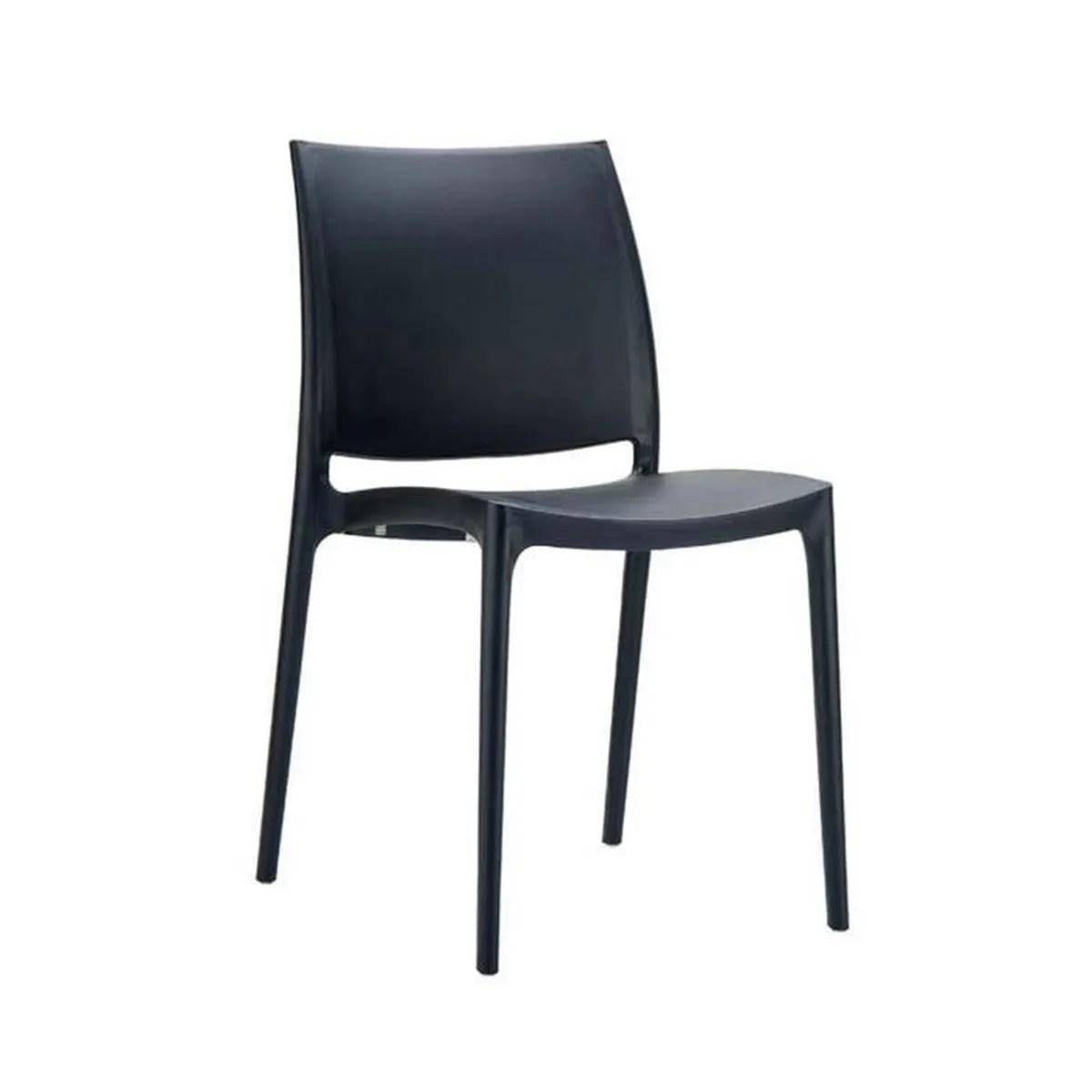 chaise de jardin empilable en plastique noir 81 x 44 x 50 cm
