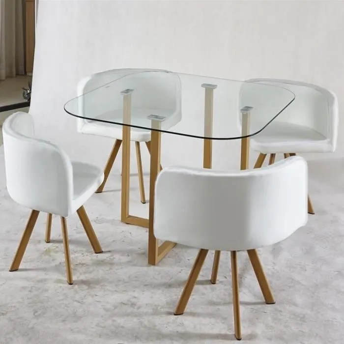 ensemble table chaises blanc