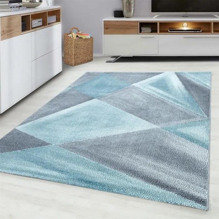 pastel tapis geometrique 200x290cm bleu et g